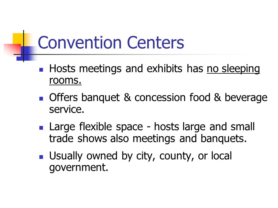 Convention Centers Hosts meetings and exhibits has no sleeping rooms.