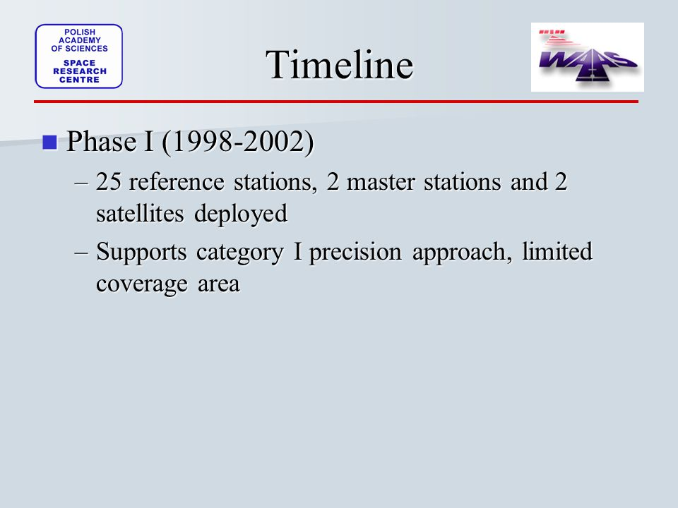 Timeline Phase I ( ) Phase I ( ) –25 reference stations, 2 master stations and 2 satellites deployed –Supports category I precision approach, limited coverage area