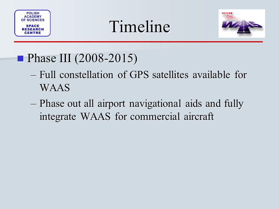 Timeline Phase III ( ) Phase III ( ) –Full constellation of GPS satellites available for WAAS –Phase out all airport navigational aids and fully integrate WAAS for commercial aircraft