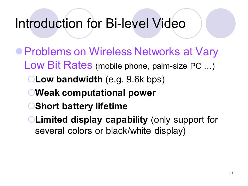 11 Introduction for Bi-level Video Problems on Wireless Networks at Vary Low Bit Rates (mobile phone, palm-size PC …)  Low bandwidth (e.g.