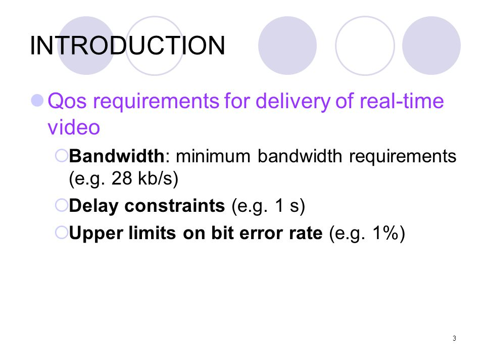 3 INTRODUCTION Qos requirements for delivery of real-time video  Bandwidth: minimum bandwidth requirements (e.g.