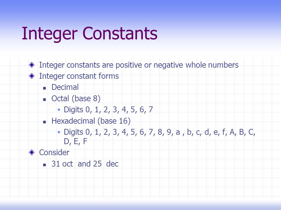 Integer Constants Integer constants are positive or negative whole numbers Integer constant forms Decimal Octal (base 8)  Digits 0, 1, 2, 3, 4, 5, 6, 7 Hexadecimal (base 16)  Digits 0, 1, 2, 3, 4, 5, 6, 7, 8, 9, a, b, c, d, e, f, A, B, C, D, E, F Consider 31 oct and 25 dec