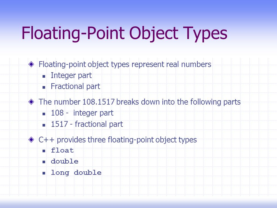 Floating-Point Object Types Floating-point object types represent real numbers Integer part Fractional part The number breaks down into the following parts integer part fractional part C++ provides three floating-point object types float double long double