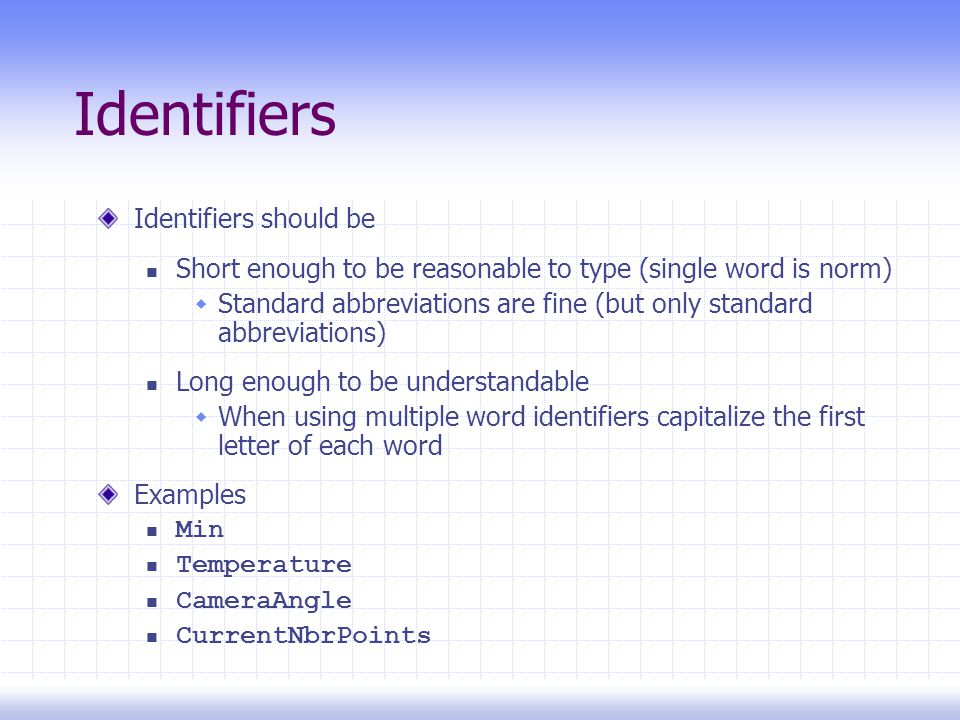 Identifiers Identifiers should be Short enough to be reasonable to type (single word is norm)  Standard abbreviations are fine (but only standard abbreviations) Long enough to be understandable  When using multiple word identifiers capitalize the first letter of each word Examples Min Temperature CameraAngle CurrentNbrPoints