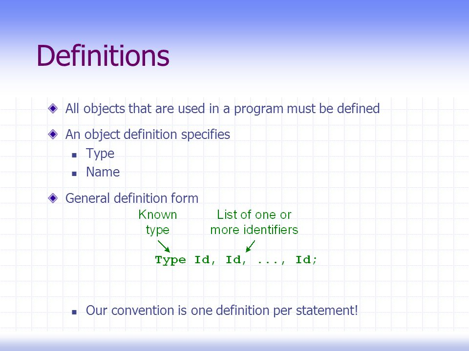 Definitions All objects that are used in a program must be defined An object definition specifies Type Name General definition form Our convention is one definition per statement!