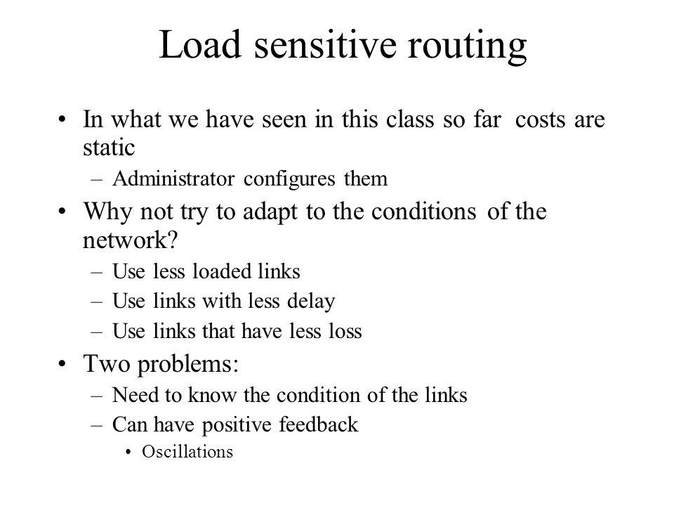 Dynamic routing – QoS routing Load sensitive routing QoS