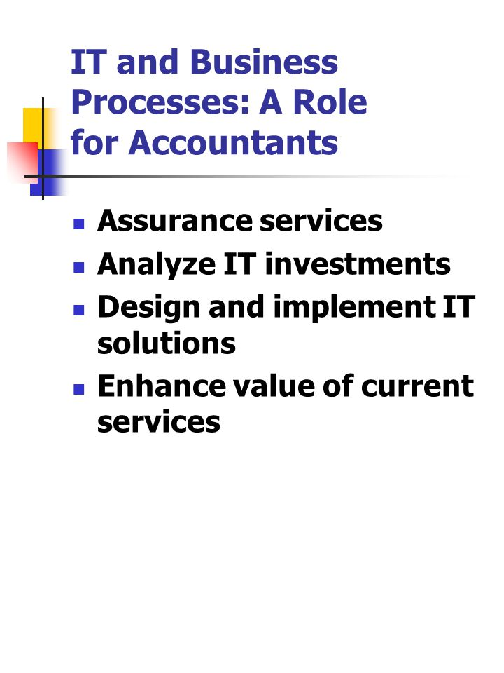 IT and Business Processes: A Role for Accountants Assurance services Analyze IT investments Design and implement IT solutions Enhance value of current services
