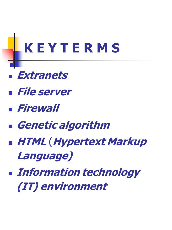 K E Y T E R M S Extranets File server Firewall Genetic algorithm HTML (Hypertext Markup Language) Information technology (IT) environment