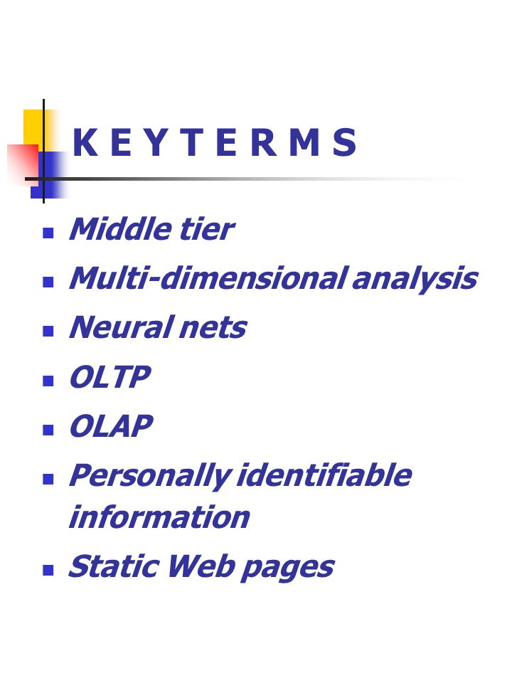 K E Y T E R M S Middle tier Multi-dimensional analysis Neural nets OLTP OLAP Personally identifiable information Static Web pages