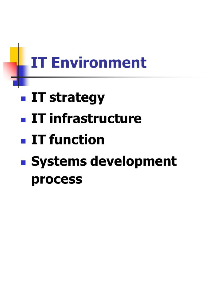IT Environment IT strategy IT infrastructure IT function Systems development process