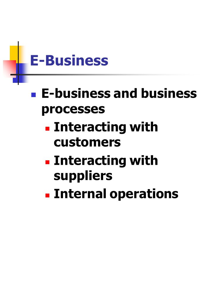 E-Business E-business and business processes Interacting with customers Interacting with suppliers Internal operations