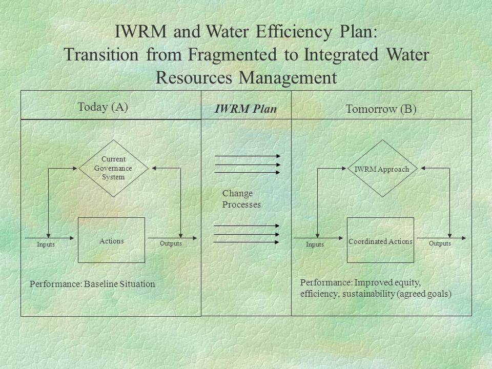 IWRM and Water Efficiency Plan: Transition from Fragmented to Integrated Water Resources Management Change Processes Today (A) IWRM PlanTomorrow (B) Performance: Baseline Situation Performance: Improved equity, efficiency, sustainability (agreed goals) Inputs Outputs Inputs Outputs Current Governance System IWRM Approach Actions Coordinated Actions