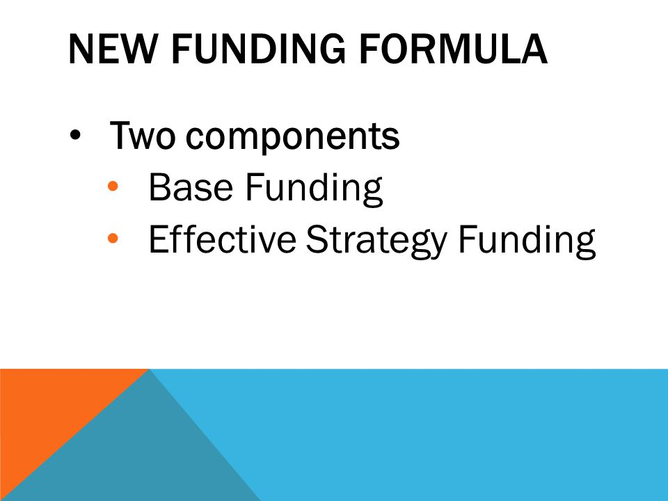 NEW FUNDING FORMULA Two components Base Funding Effective Strategy Funding