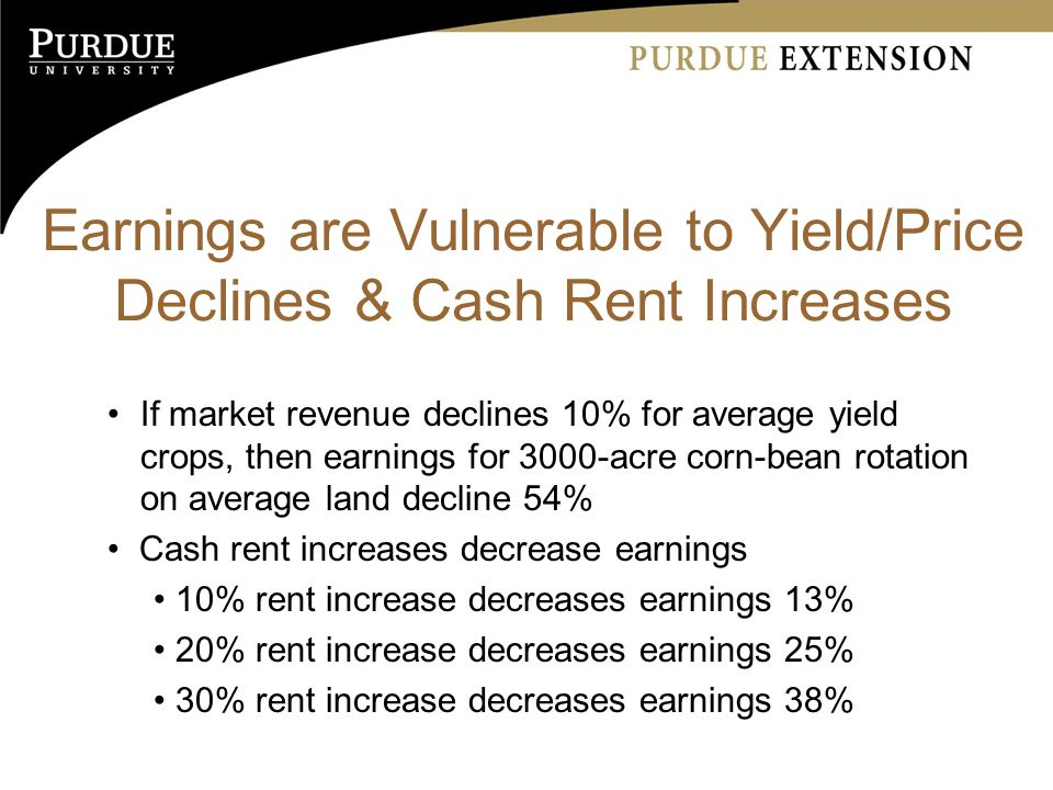Earnings are Vulnerable to Yield/Price Declines & Cash Rent Increases If market revenue declines 10% for average yield crops, then earnings for 3000-acre corn-bean rotation on average land decline 54% Cash rent increases decrease earnings 10% rent increase decreases earnings 13% 20% rent increase decreases earnings 25% 30% rent increase decreases earnings 38%