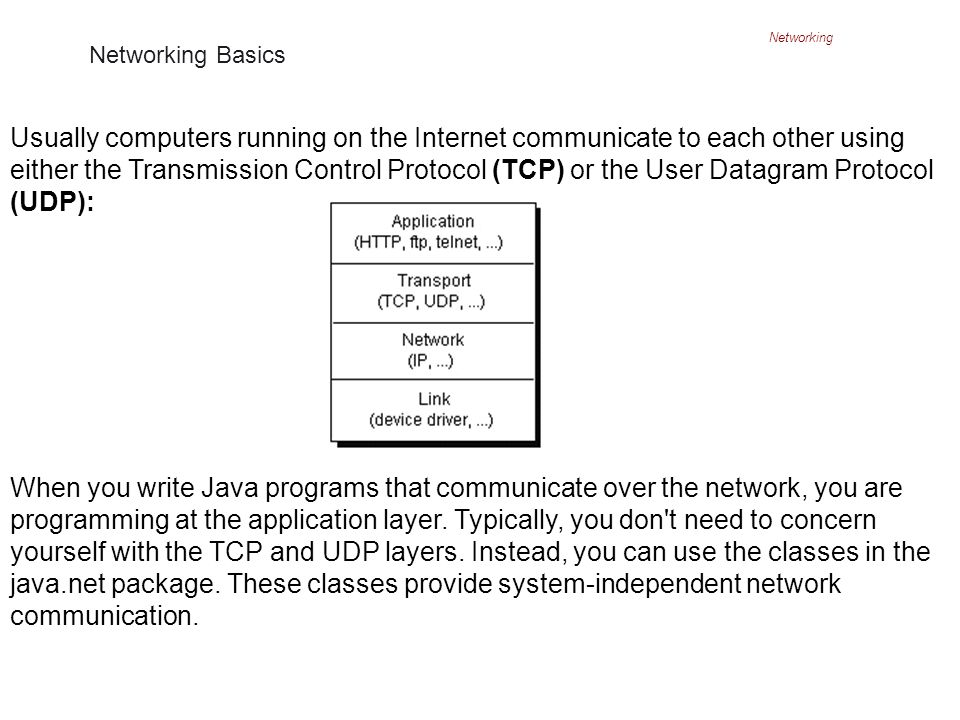 Networking Networking Basics Usually computers running on the Internet communicate to each other using either the Transmission Control Protocol (TCP) or the User Datagram Protocol (UDP): When you write Java programs that communicate over the network, you are programming at the application layer.