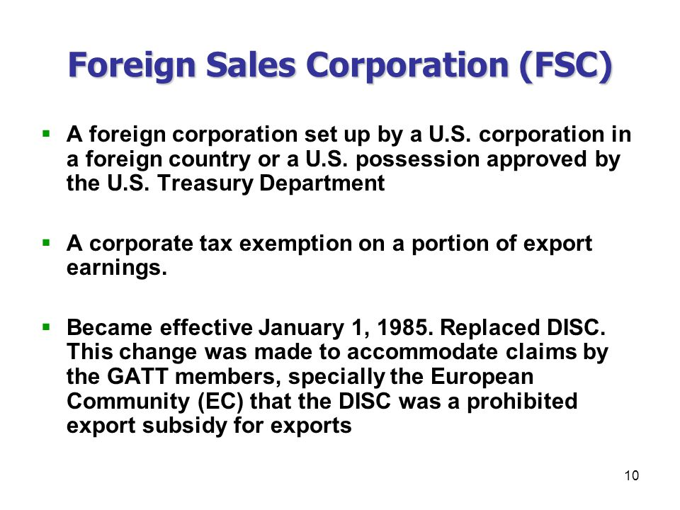 foreign sales corporation