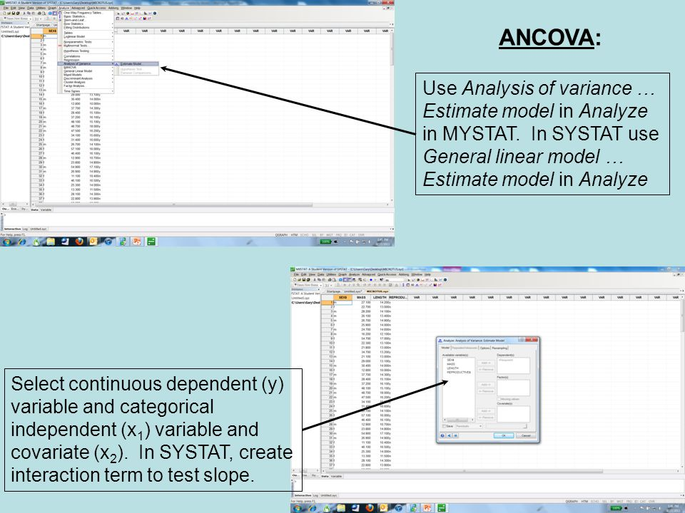 ANCOVA: Use Analysis of variance … Estimate model in Analyze in MYSTAT.