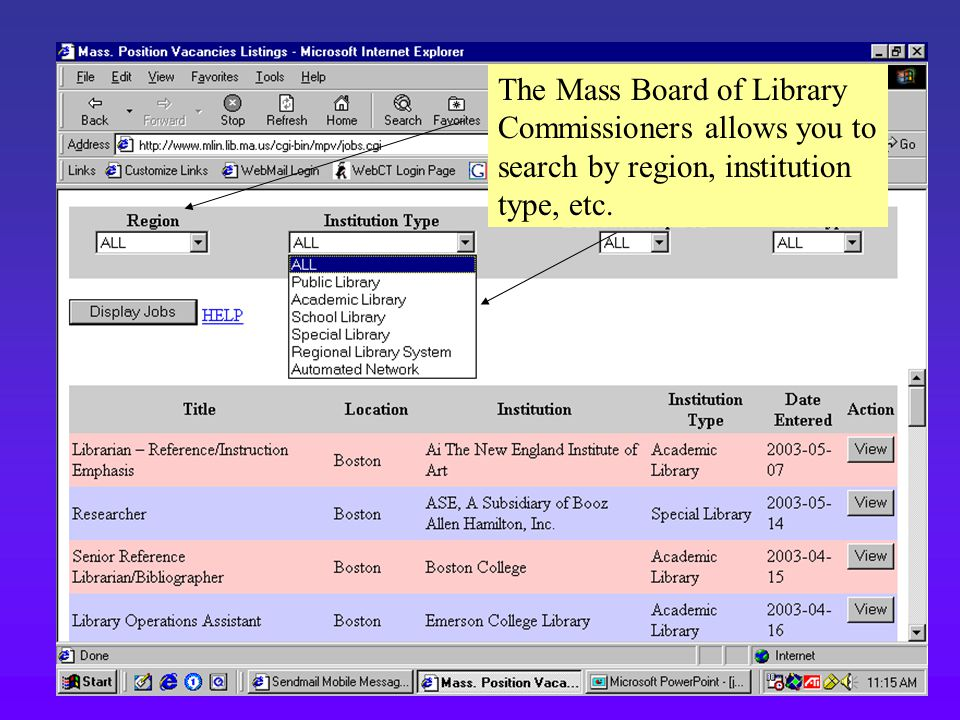 The Mass Board of Library Commissioners allows you to search by region, institution type, etc.