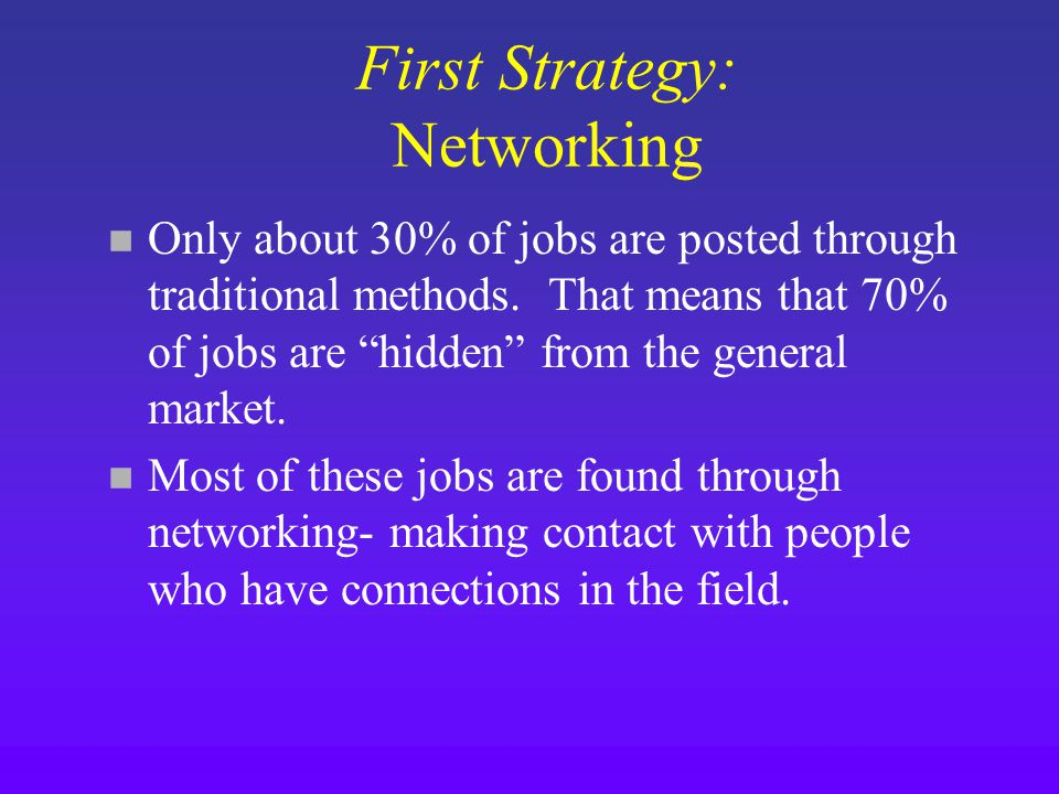 First Strategy: Networking n Only about 30% of jobs are posted through traditional methods.