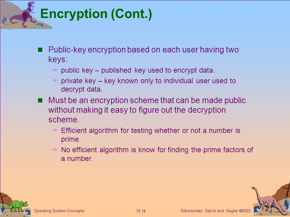 Silberschatz, Galvin and Gagne  Operating System Concepts Encryption (Cont.) Public-key encryption based on each user having two keys:  public key – published key used to encrypt data.