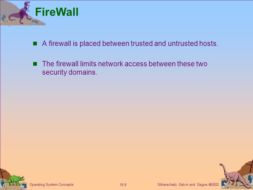 Silberschatz, Galvin and Gagne  Operating System Concepts FireWall A firewall is placed between trusted and untrusted hosts.