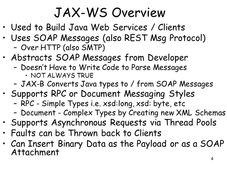 Intro to Programming Java Web Services using the Java TM API for