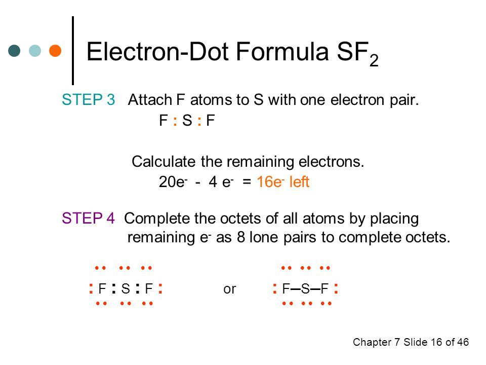 Chapter 7 Slide 16 of 46 Electron-Dot Formula SF 2 STEP 3 Attach F atoms to S with one electron pair.