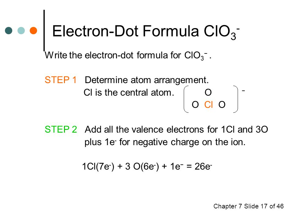 Chapter 7 Slide 17 of 46 Electron-Dot Formula ClO 3 - Write the electron-dot formula for ClO 3 −.