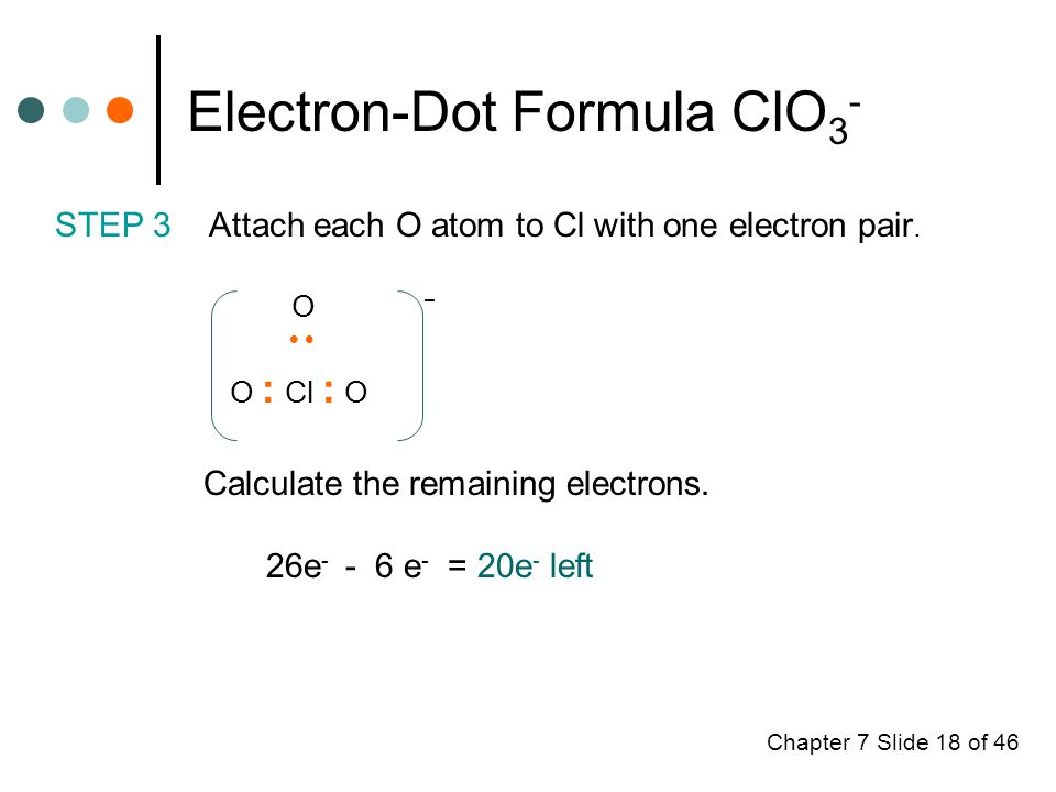 Chapter 7 Slide 18 of 46 Electron-Dot Formula ClO 3 - STEP 3 Attach each O atom to Cl with one electron pair.