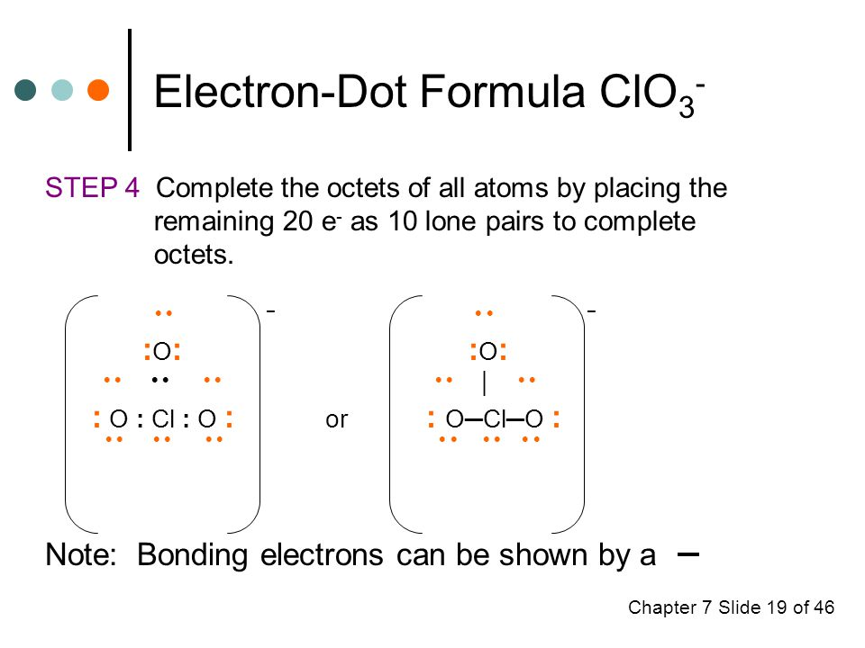 Chapter 7 Slide 19 of 46 Electron-Dot Formula ClO 3 - STEP 4 Complete the octets of all atoms by placing the remaining 20 e - as 10 lone pairs to complete octets.