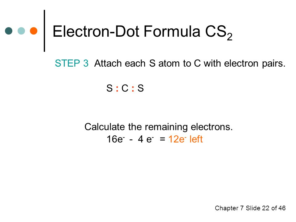 Chapter 7 Slide 22 of 46 Electron-Dot Formula CS 2 STEP 3 Attach each S atom to C with electron pairs.