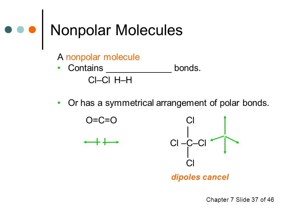 Chapter 7 Slide 37 of 46 Nonpolar Molecules A nonpolar molecule Contains _____________ bonds.