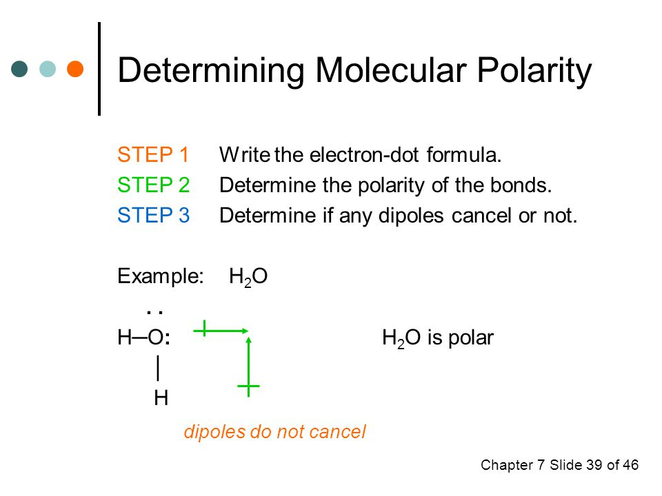 Chapter 7 Slide 39 of 46 Determining Molecular Polarity STEP 1 Write the electron-dot formula.