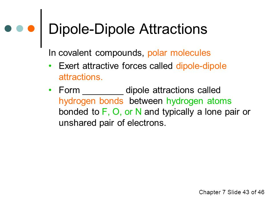 Chapter 7 Slide 43 of 46 Dipole-Dipole Attractions In covalent compounds, polar molecules Exert attractive forces called dipole-dipole attractions.