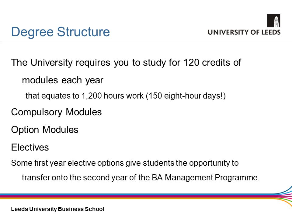 Leeds University Business School Degree Structure The University requires you to study for 120 credits of modules each year that equates to 1,200 hours work (150 eight-hour days!) Compulsory Modules Option Modules Electives Some first year elective options give students the opportunity to transfer onto the second year of the BA Management Programme.