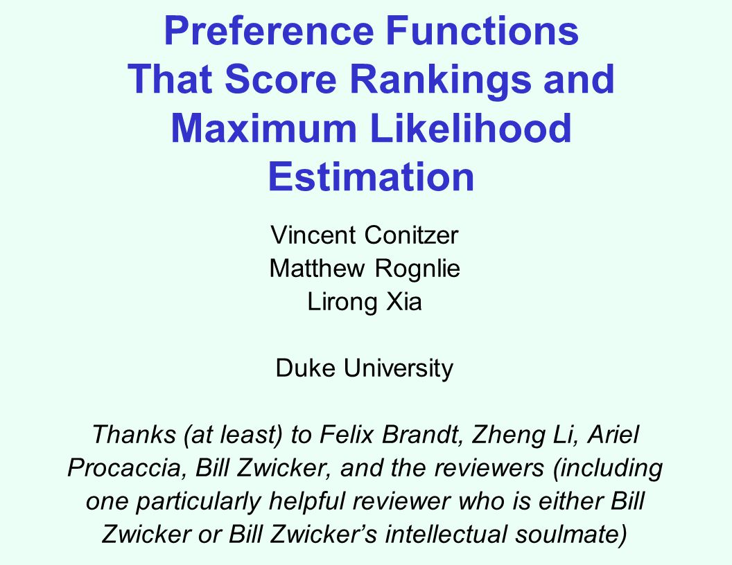 Preference Functions That Score Rankings and Maximum