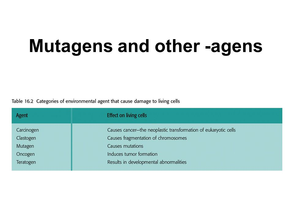 Mutagens and other -agens