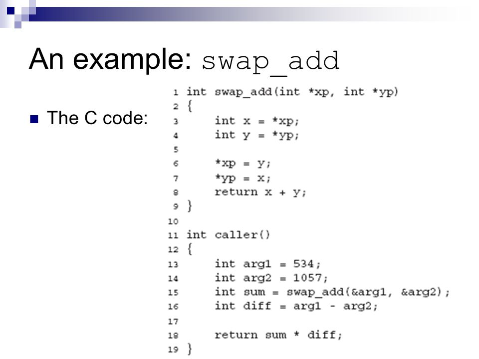 An example: swap_add The C code: