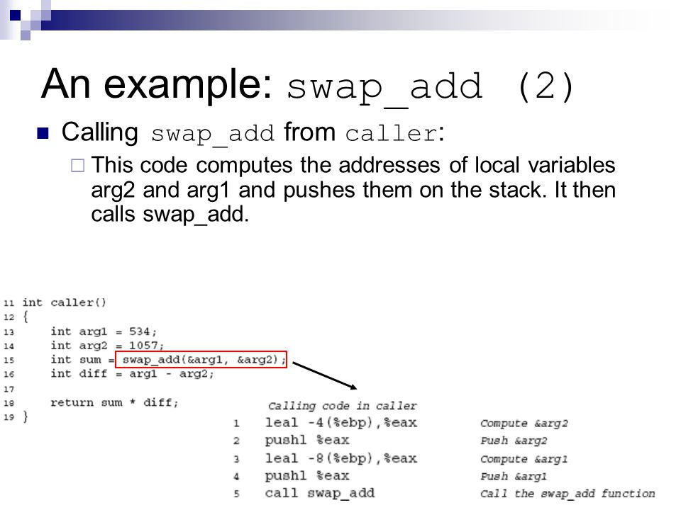 An example: swap_add (2) Calling swap_add from caller :  This code computes the addresses of local variables arg2 and arg1 and pushes them on the stack.