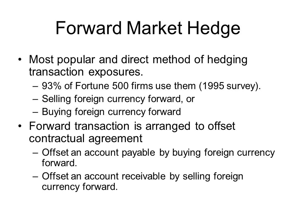 Forward Market Hedge Most popular and direct method of hedging transaction exposures.