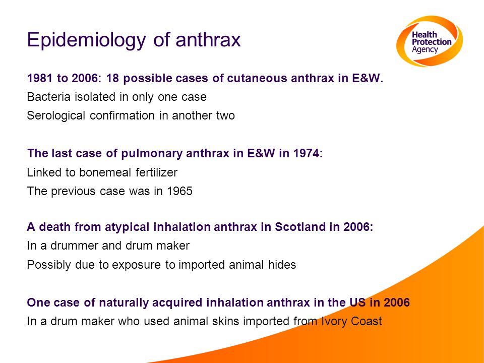 Inhalation anthrax: a single case in North London Dr Sudy