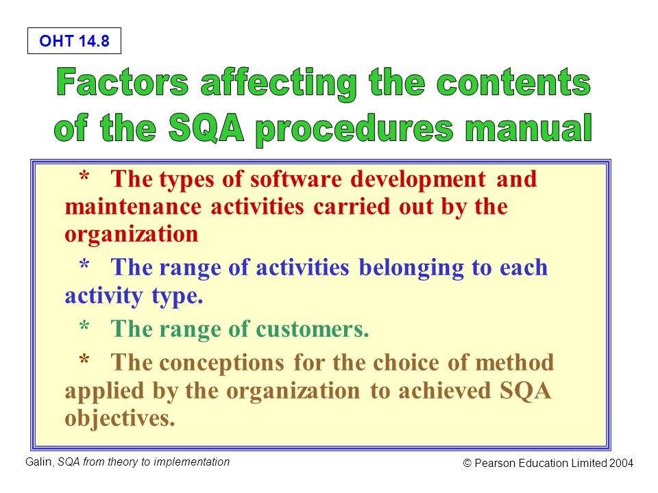 OHT 14.8 Galin, SQA from theory to implementation © Pearson Education Limited 2004 * The types of software development and maintenance activities carried out by the organization * The range of activities belonging to each activity type.