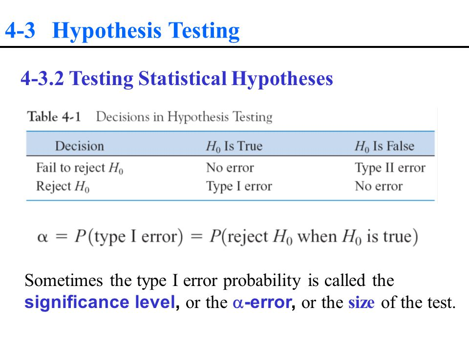 4-3 Hypothesis Testing Testing Statistical Hypotheses Sometimes the type I error probability is called the significance level, or the  -error, or the size of the test.