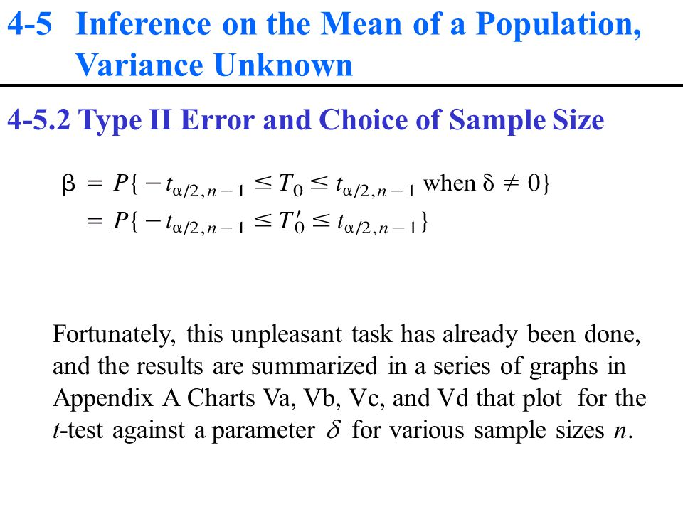 4-5 Inference on the Mean of a Population, Variance Unknown Type II Error and Choice of Sample Size Fortunately, this unpleasant task has already been done, and the results are summarized in a series of graphs in Appendix A Charts Va, Vb, Vc, and Vd that plot for the t-test against a parameter  for various sample sizes n.