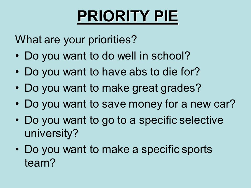 PRIORITY PIE What are your priorities. Do you want to do well in school.