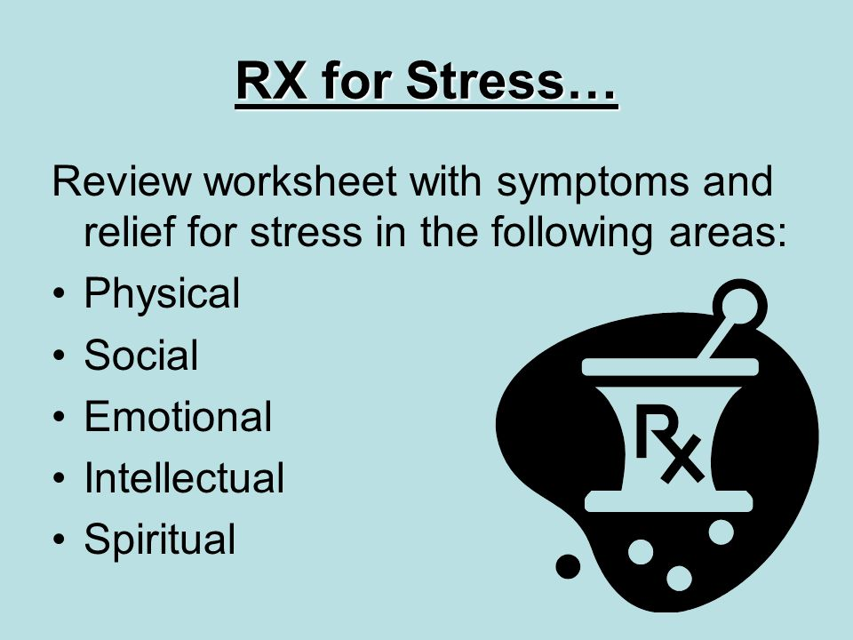 RX for Stress… Review worksheet with symptoms and relief for stress in the following areas: Physical Social Emotional Intellectual Spiritual