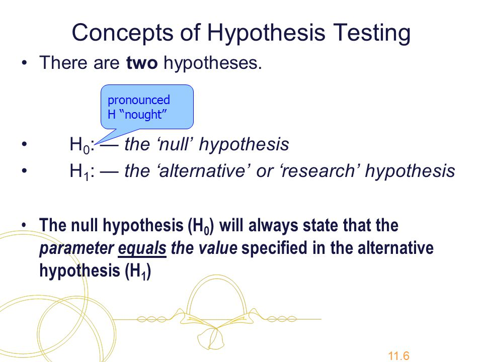 11.6 Concepts of Hypothesis Testing There are two hypotheses.