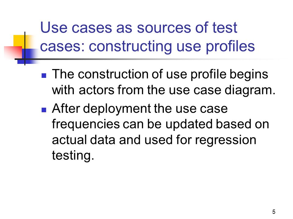 1 software testing and quality assurance lecture 30 testing 5 use cases as sources of test cases constructing use profiles the construction of use ccuart Gallery