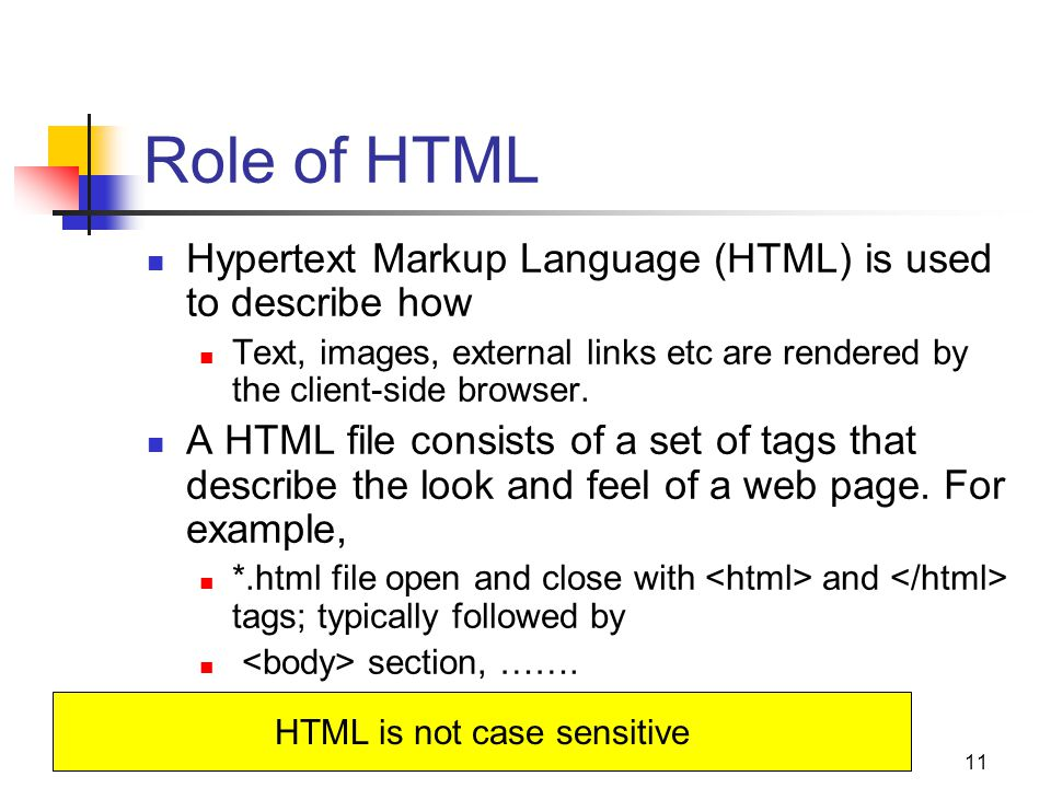 11 Role of HTML Hypertext Markup Language (HTML) is used to describe how Text, images, external links etc are rendered by the client-side browser.
