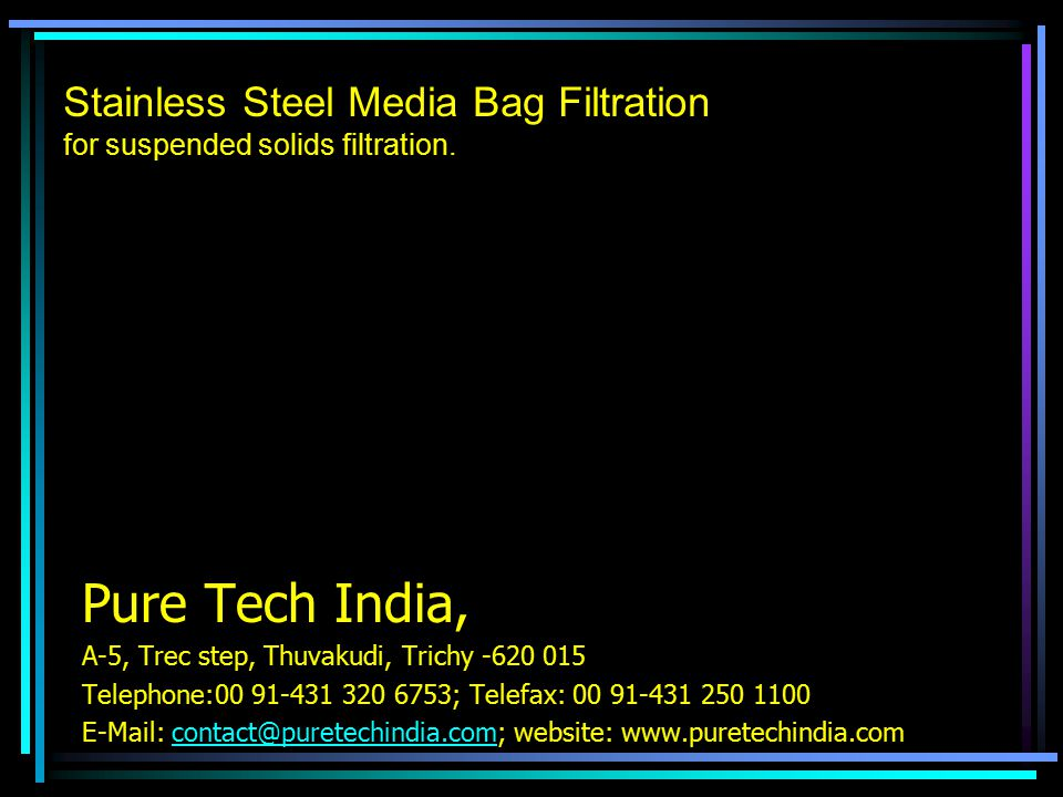 Stainless Steel Media Bag Filtration for suspended solids filtration.